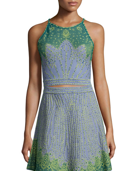 Sleeveless Jacquard Crop Top, Sky Blue