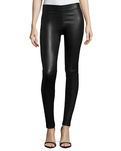 Stretch Lamb Leather Leggings, Black
