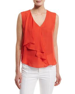 Sleeveless Draped Silk Top, Blood Orange