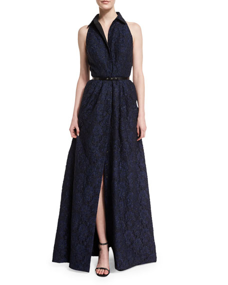 Sleeveless Collared Belted Gown