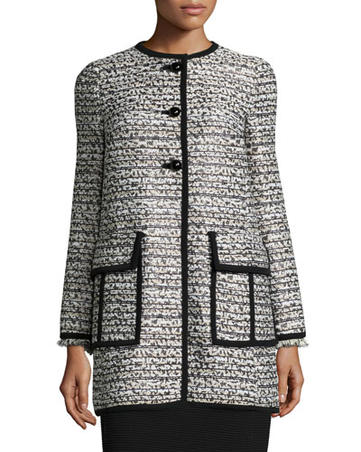 Long-Sleeve Button-Front Topper Coat, Black/Ivory