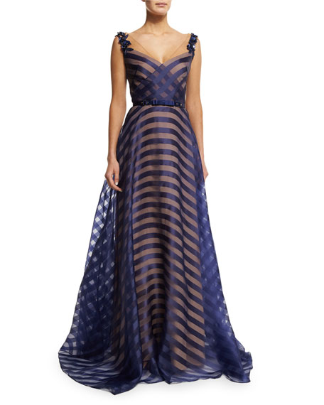Belted Organza V-Neck Gown, Navy