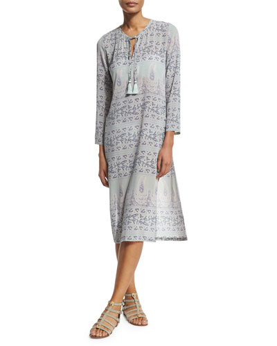 Yolani 3/4-Sleeve Shift Dress, Wintermint