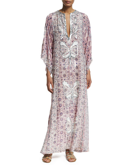 Brephi Embellished Ballet Slipper Maxi Dress, Pink Pattern
