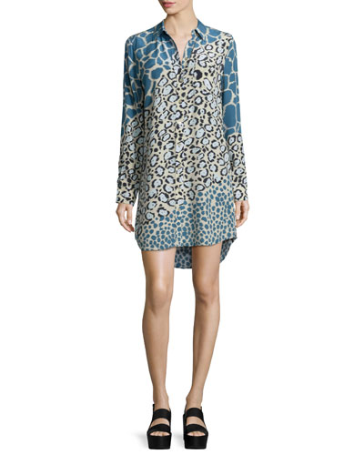 Brett Long-Sleeve Shirtdress, Alfalfa/Multi