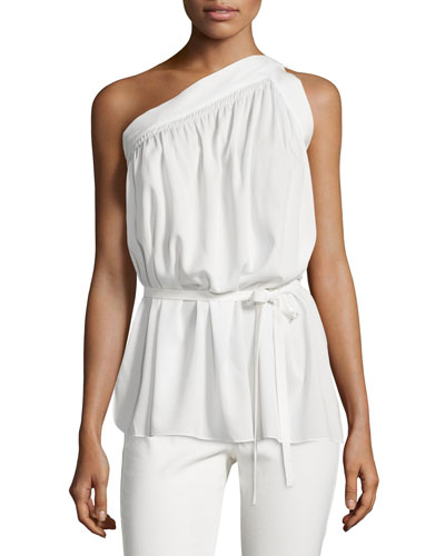 One-Shoulder Silk-Blend Top, Ivory