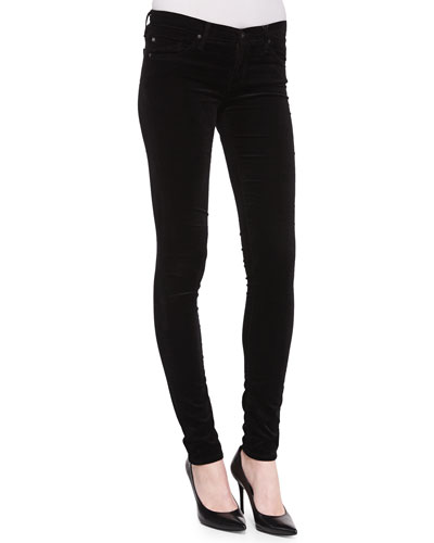 Super Skinny Velvet Leggings, Super Black Velvet