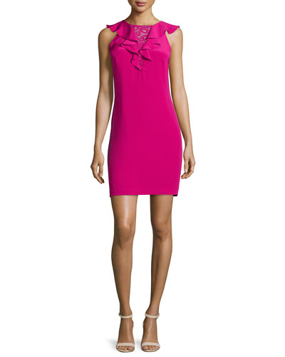 Sleeveless Ruffed-Front Cocktail Dress