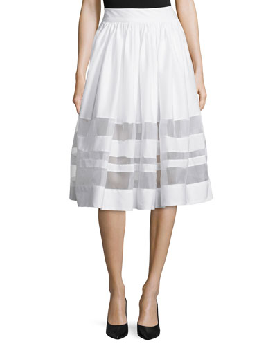 Misty Sheer-Inset A-Line Skirt, White