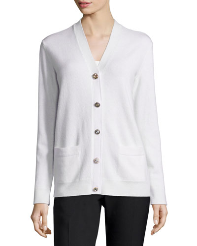 Merino Jewel-Button Cardigan