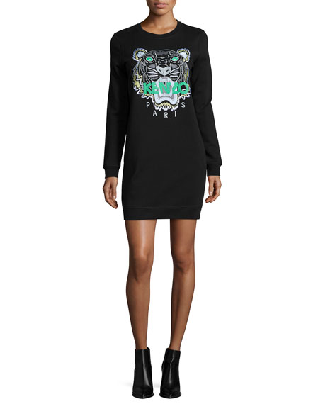 Long-Sleeve Embroidered Tiger Sweaterdress, Black