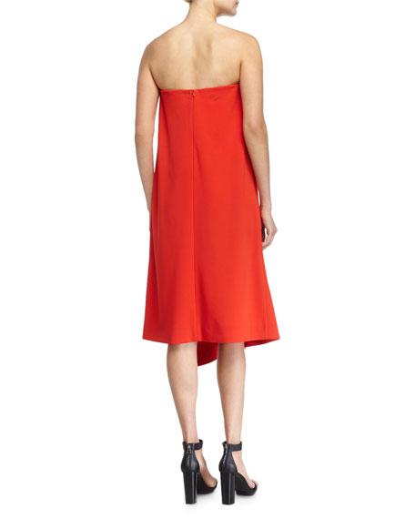Draped Strapless Shift Dress, Scarlet Red