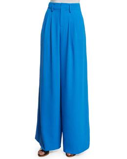 Eloise Straight Wide-Leg Pants, Royal Blue