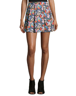 Island Watercolor Parson Pleated Skirt, Multicolor