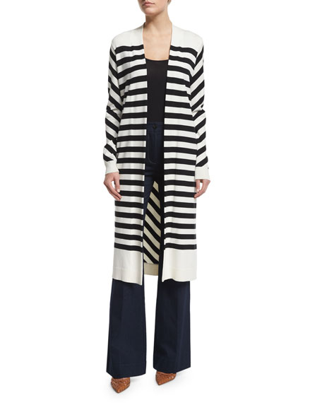 Long-Sleeve Carlisle Silk-Blend Cardigan, Natural/Black