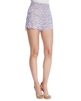 Fausta High-Waist Lace Shorts, Lilac