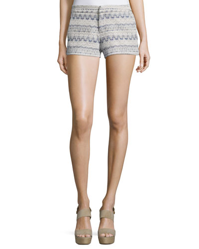 Merci Embroidered Shorts, Deep Chambray/Porcelain
