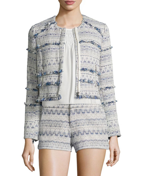 Tesita Embroidered Jacket W/Fringe, Deep Chambray/Porcelain