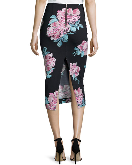 Darci Floral-Print Midi Pencil Skirt, Black/Multi Colors