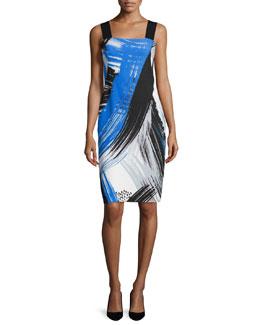 Lorena Brushstroke-Print Sheath Dress, Sapphire