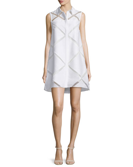 Sleeveless Diamond Fil Coupe Shirtdress, White