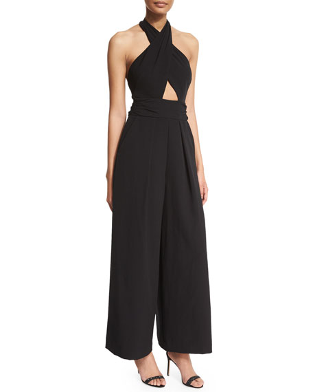 Sleeveless Crisscross Halter Jumpsuit, Black