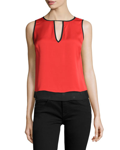 Claire Two-Tone Tank, Poppy