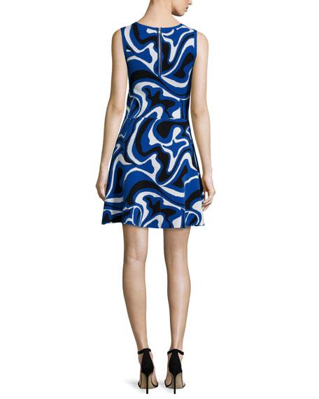 Sleeveless Round-Neck Pop-Camo Dress, Blue/Multi