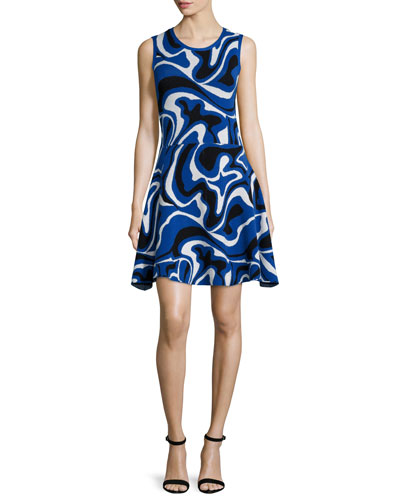 Sleeveless Round-Neck Pop-Camo Dress, Blue/Multi