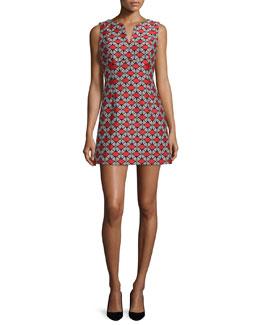 Sleeveless Geometric-Print Sheath Dress, Poppy