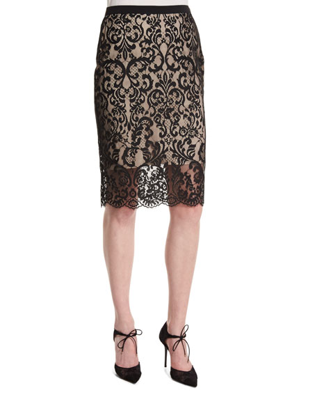 Violet Lace Overlay Pencil Skirt
