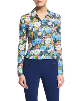 Floral Cotton Voile Blouse, Multicolor