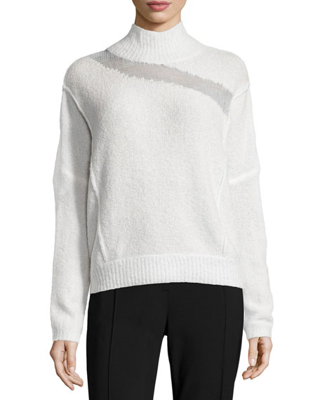 Elie Tahari Della Mock-Neck Boucle Sweater