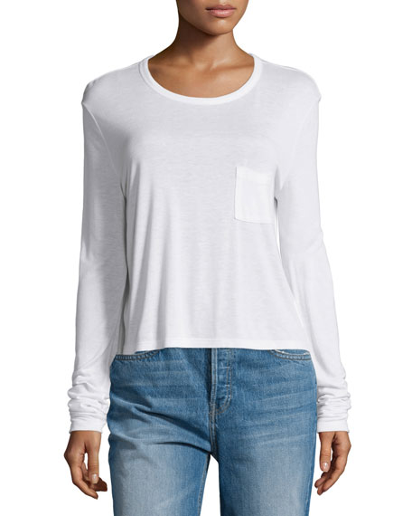 alexanderwang.t Classic Cropped Long-Sleeve Tee, White