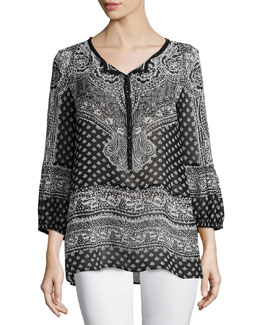 Moi Long-Sleeve Printed Top, Black