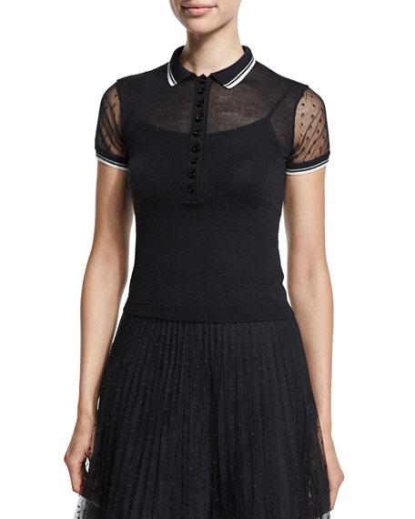 Sheer-Sleeve Knit Polo Shirt