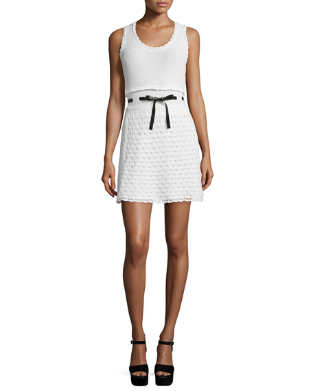 Sleeveless Scoop-Neck Crochet Dress, Ivory/White