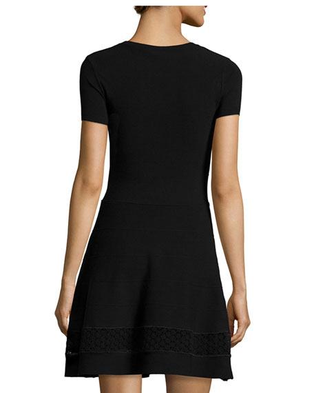 Short-Sleeve Lace-Inset Dress, Black