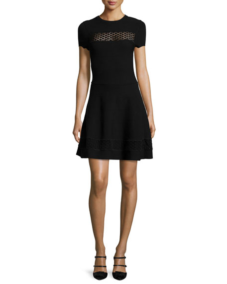 Short-Sleeve Lace-Inset Dress, Black