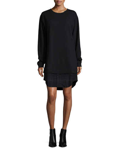 Scarlet Long-Sleeve Dress W/Plaid Hem, Shadow