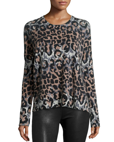 Long-Sleeve Leopard-Print Wool-Blend Top