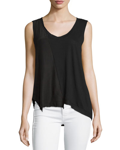 Sid Scoop-Neck Asymmetric Top, Noir