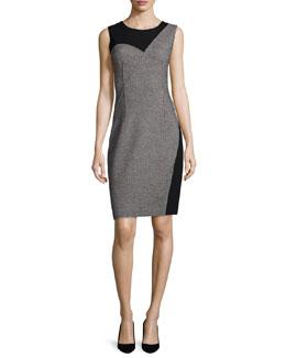 Carmen Sleeveless Two-Tone Sheath Dress, Black