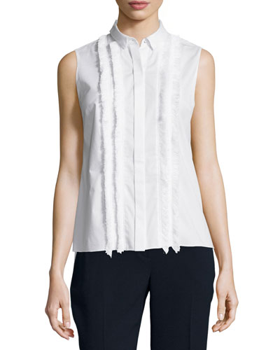 Sierra Sleeveless Top W/Fringe Trim, White