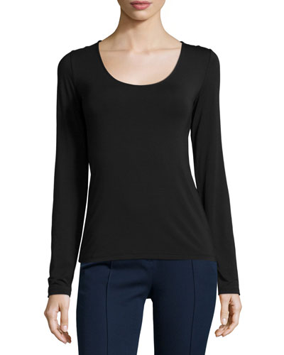 Netta Long-Sleeve Top, Black