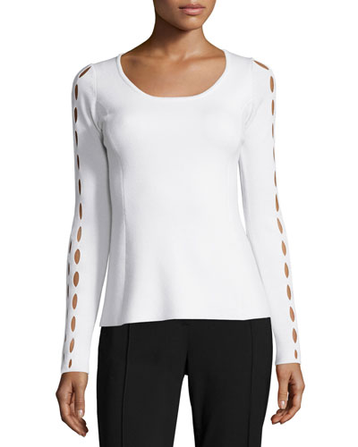 Jenna Long-Sleeve Sweater W/Cutouts