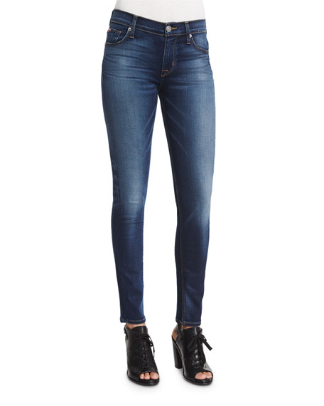 Nico Mid-Rise Skinny Jeans, Blue/Gold