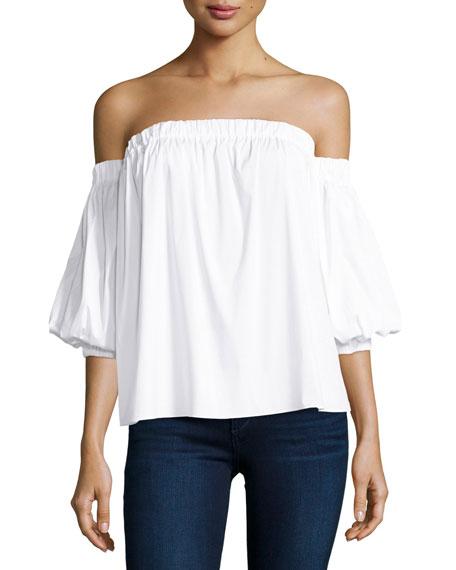 Off-the-Shoulder Stretch-Cotton Blouse