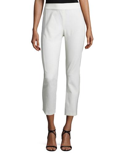 Atlantic Silk Ankle Pants, White