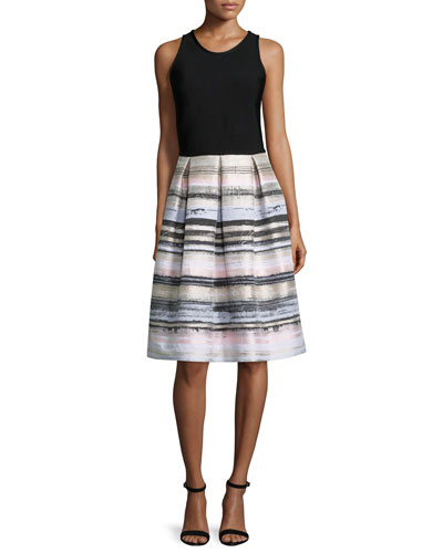 Sleeveless Striped-Skirt Dress, Black/Blush